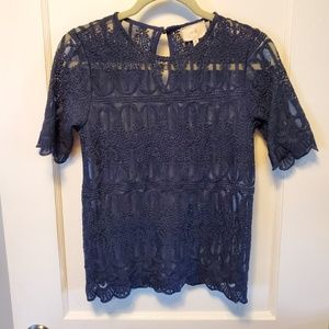 Anthropolgie En Elle Lace Top Navy Sz 0 / XS